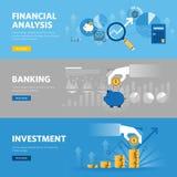 Σύνολο επίπεδων εμβλημάτων Ιστού σχεδίου γραμμών για τις τραπεζικές εργασίες και τη χρηματοδότηση, επένδυση, έρευνα αγοράς, οικον διανυσματική απεικόνιση
