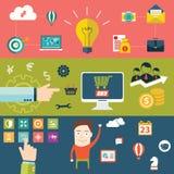 Σύνολο επίπεδων εννοιών απεικόνισης σχεδίου για τον προγραμματισμό, την ομαδική εργασία και την αποστολή Στοκ Φωτογραφία