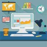 Σύνολο επίπεδων εννοιών απεικόνισης σχεδίου για τον προγραμματισμό, την ομαδική εργασία και την αποστολή Στοκ Εικόνες