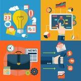 Σύνολο επίπεδων εννοιών απεικόνισης σχεδίου για τον προγραμματισμό, την ομαδική εργασία και την αποστολή Στοκ φωτογραφία με δικαίωμα ελεύθερης χρήσης