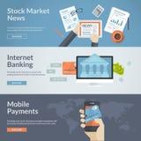 Σύνολο επίπεδων εννοιών σχεδίου για τις ειδήσεις χρηματιστηρίου, τις τραπεζικές εργασίες Διαδικτύου και τις κινητές πληρωμές Στοκ Εικόνες