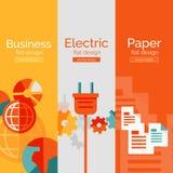 Σύνολο επίπεδων εννοιών σχεδίου - επιχείρηση, ηλεκτρικό Στοκ Φωτογραφίες