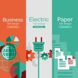 Σύνολο επίπεδων εννοιών σχεδίου - επιχείρηση, ηλεκτρικό Στοκ Εικόνες