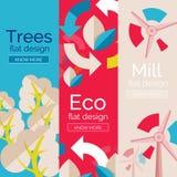 Σύνολο επίπεδων εννοιών eco σχεδίου Στοκ Εικόνες