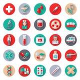 Σύνολο επίπεδων ιατρικών εικονιδίων στους κύκλους ελεύθερη απεικόνιση δικαιώματος