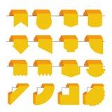 Σύνολο επίπεδων σελιδοδεικτών. Origami που ορίζεται Στοκ Εικόνες