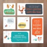 Σύνολο επίπεδων Χριστουγέννων απεικόνισης σχεδίου διανυσματικών και νέων ευχετήριων καρτών έτους Στοκ φωτογραφία με δικαίωμα ελεύθερης χρήσης
