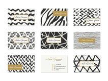 Σύνολο επαγγελματικών καρτών με συρμένα τα χέρι στοιχεία Στοκ Φωτογραφίες