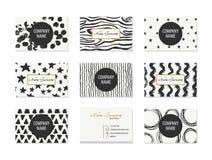 Σύνολο επαγγελματικών καρτών με συρμένα τα χέρι στοιχεία Στοκ Εικόνες