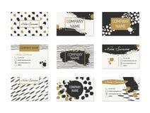 Σύνολο επαγγελματικών καρτών με συρμένα τα χέρι στοιχεία Στοκ Φωτογραφία