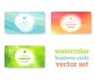 Σύνολο επαγγελματικών καρτών με το υπόβαθρο watercolor Στοκ Φωτογραφία