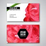 Σύνολο επαγγελματικών καρτών με το υπόβαθρο watercolor Στοκ Εικόνα