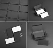 Σύνολο επαγγελματικών καρτών σε ένα μαύρο υπόβαθρο Στοκ φωτογραφία με δικαίωμα ελεύθερης χρήσης