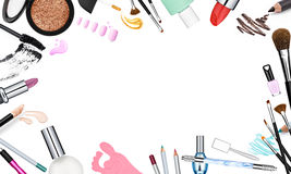 Σύνολο επαγγελματικών καλλυντικών βουρτσών και τετραγωνικού πλαισίου προώθησης Στοκ Εικόνες