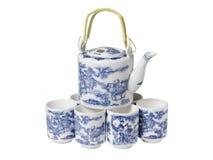 Σύνολο επιτραπέζιου σκεύους πορσελάνης Teapot και φλυτζάνια στο κινεζικό ύφος Στοκ Φωτογραφία