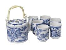 Σύνολο επιτραπέζιου σκεύους πορσελάνης Teapot και φλυτζάνια στο κινεζικό ύφος Στοκ Εικόνα