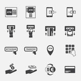 Σύνολο επιχειρησιακών εικονιδίων του ATM και χρημάτων Στοκ Φωτογραφία