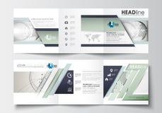 Σύνολο επιχειρησιακών προτύπων για τα φυλλάδια trifold Τετραγωνικό σχέδιο Κάλυψη φυλλάδιων, επίπεδο σχεδιάγραμμα, εύκολο editable Στοκ Εικόνες