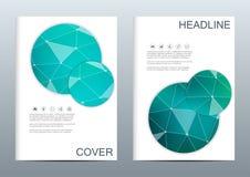 Σύνολο επιχειρησιακών προτύπων για το φυλλάδιο, ιπτάμενο, περιοδικό κάλυψης A4 στο μέγεθος DNA μορίων δομών και νευρώνες γεωμετρι Στοκ Φωτογραφίες
