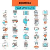 Σύνολο λεπτής εκπαίδευσης Διαδικτύου εικονιδίων γραμμών και σε απευθείας σύνδεση μελέτης σειράς μαθημάτων Στοκ Φωτογραφίες