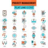 Σύνολο λεπτής διαχείρισης του προγράμματος εικονιδίων γραμμών, επιχειρησιακή ηγεσία Στοκ εικόνες με δικαίωμα ελεύθερης χρήσης