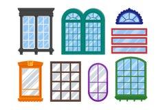 Σύνολο λεπτομερών παραθύρων για το ιδιωτικό σπίτι ή την οικοδόμηση Στοκ εικόνες με δικαίωμα ελεύθερης χρήσης