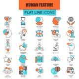 Σύνολο λεπτών διάφορων διανοητικών χαρακτηριστικών γνωρισμάτων εικονιδίων γραμμών του ανθρώπινου εγκεφάλου Στοκ Φωτογραφίες