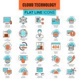Σύνολο λεπτών υπηρεσιών τεχνολογίας στοιχείων σύννεφων εικονιδίων γραμμών Στοκ φωτογραφία με δικαίωμα ελεύθερης χρήσης