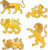 Σύνολο εραλδικών λιονταριών Στοκ Εικόνες