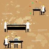 Σύνολο εργαστηρίου χημείας με τους γιατρούς επίσης corel σύρετε το διάνυσμα απεικόνισης Στοκ Εικόνες