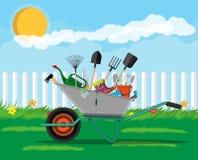 Σύνολο εργαλείων κηπουρικής Εξοπλισμός για τον κήπο διανυσματική απεικόνιση