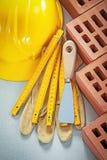Σύνολο εργαλείων πλινθοδομής στη συγκεκριμένη έννοια οικοδόμησης υποβάθρου Στοκ Εικόνες