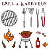 Σύνολο εργαλείων σχαρών: BBQ δίκρανο, λαβίδες, σχάρα με το κρέας, πυρκαγιά, κέτσαπ, κέρατα του Bull η ανασκόπηση απομόνωσε το λευ διανυσματική απεικόνιση
