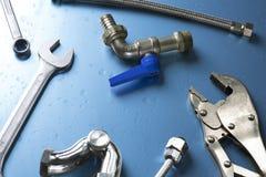 Σύνολο εργαλείων υδραυλικών στοκ φωτογραφία