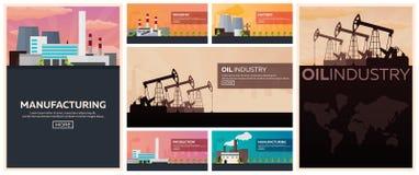 Σύνολο εργοστασίων βιομηχανικού κτηρίου Κατασκευή, διανυσματική επίπεδη απεικόνιση βιομηχανίας πετρελαίου Στοκ Εικόνα