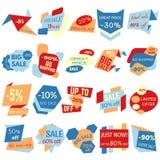Σύνολο ετικετών έκπτωσης πώλησης, ετικέττες, εμβλήματα Στοκ Εικόνες