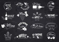 Σύνολο ετικετών, διακριτικών και λογότυπων κρασιού για το σχέδιο στοκ εικόνες
