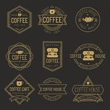 Σύνολο ετικετών καφετεριών, λογότυπο, διακριτικά - διανυσματική απεικόνιση ελεύθερη απεικόνιση δικαιώματος