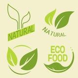 Σύνολο ετικετών, λογότυπα με το κείμενο Φυσικά, τρόφιμα eco Οργανική τροφή απεικόνιση αποθεμάτων