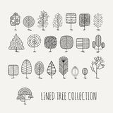 Σύνολο ευθυγραμμισμένων δέντρων απλό ύφος Στοκ φωτογραφίες με δικαίωμα ελεύθερης χρήσης