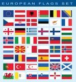 Σύνολο ευρωπαϊκών σημαιών, διανυσματική απεικόνιση Στοκ εικόνα με δικαίωμα ελεύθερης χρήσης