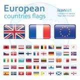 Σύνολο ευρωπαϊκών σημαιών, διανυσματική απεικόνιση Στοκ φωτογραφία με δικαίωμα ελεύθερης χρήσης