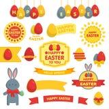 Σύνολο ευτυχών διακοσμήσεων Πάσχας και διακοσμητικών στοιχείων Ελεύθερη απεικόνιση δικαιώματος