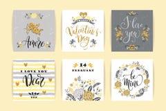 Σύνολο ευτυχών καρτών ημέρας βαλεντίνων Στοκ εικόνα με δικαίωμα ελεύθερης χρήσης