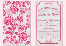 σύνολο ευχετήριων καρτών με το λουλούδι η ημερομηνία σώζει Μοντέρνη εγγραφή για τους χαιρετισμούς Στοκ Φωτογραφίες