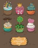 Σύνολο εύγευστων cupcakes με τα διαφορετικά καλύμματα Στοκ εικόνες με δικαίωμα ελεύθερης χρήσης