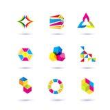 Σύνολο ελάχιστων γεωμετρικών πολύχρωμων συμβόλων και μορφών Καθιερώνοντα τη μόδα εικονίδια και logotypes Σύμβολα επιχειρησιακών σ Στοκ Εικόνες