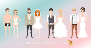 Σύνολο ζευγών newlyweds στο ύφος κινούμενων σχεδίων Στοκ εικόνες με δικαίωμα ελεύθερης χρήσης