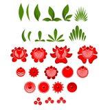 Σύνολο ζωγραφικής Gorodets λουλουδιών και φύλλων στοιχείων Ρωσικό NA Στοκ Εικόνα