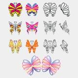 Σύνολο ζωηρόχρωμης και μαύρης πεταλούδας ελεύθερη απεικόνιση δικαιώματος